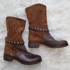 Latitude Femme Leopard Print Studded Boots